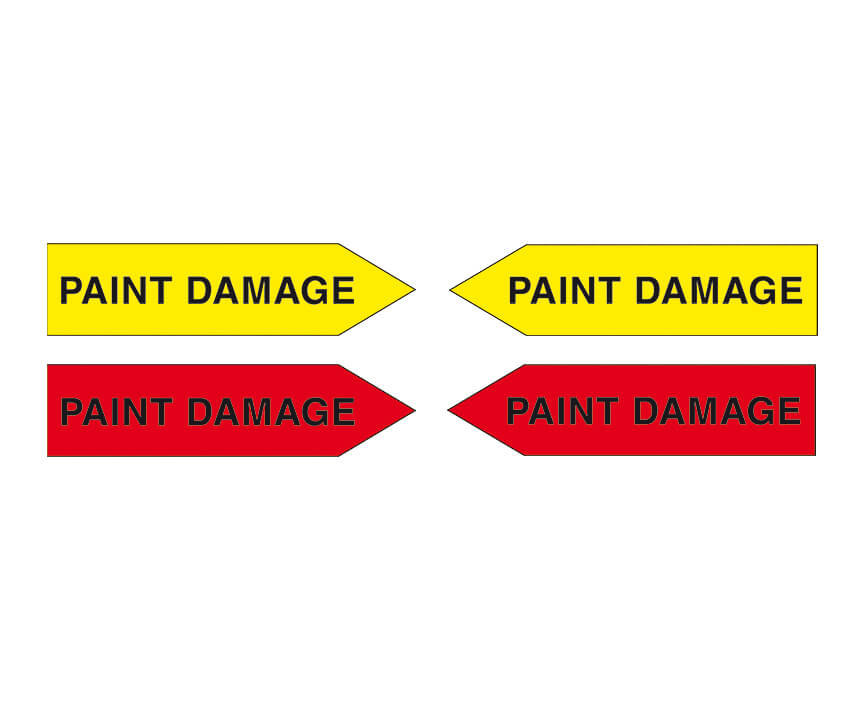 Magnetic arrows, 100 mm, yellow/red, 'PAINT DAMAGE'