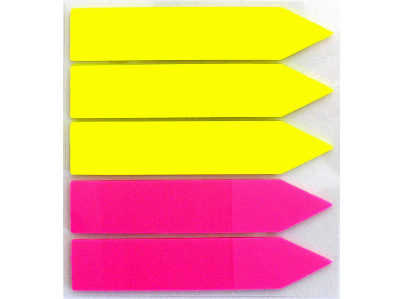 Adhesive arrows, 100 mm, film, yellow/magenta