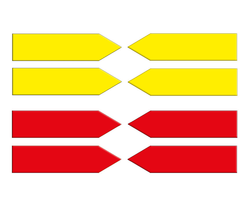 Magnetic arrows, 100 mm, yellow/red