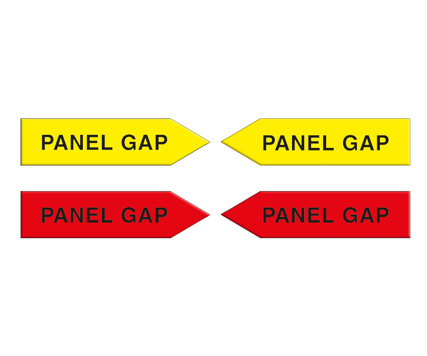Magnetic arrows, 100 mm, yellow/red, 'PANEL GAP'